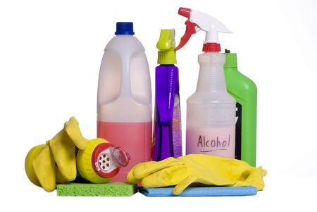 sterilize: Cleaning supplies laid out on the floor, ready for the daily chores