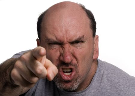 unkind:  A 40 something man, in a rage during an argument