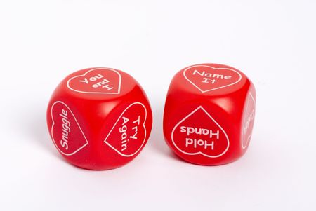 A set of dice with valentine messages on them....do you feel lucky? Stock fotó