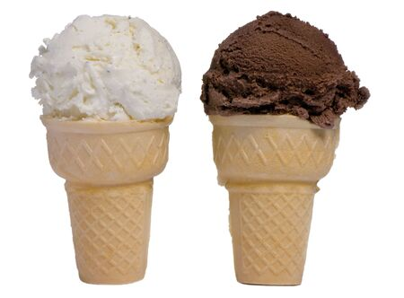 Twee ijs kegels ... een vanille, een chocolade. Tegenpolen