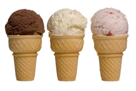 3 different flavors of ice cream cones... chocolate, vanilla, and strawberry