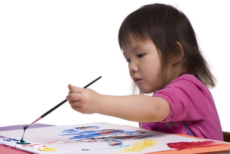 masterpiece: A young asian girl paints her masterpiece