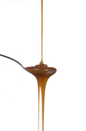 Een uitnodigende parcours van karamel leiden recht om uw ijs Stockfoto