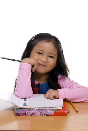 wants: A young asian girl think about what she wants to write