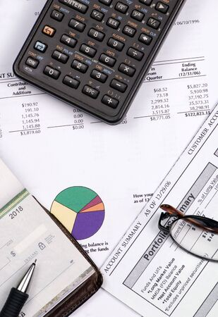 Calculating for the future... checking how much you have in the retirement funds. photo