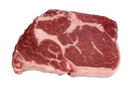 rib eye: A close up shot of a fresh cut of Rib Eye steak.... ready for cooking