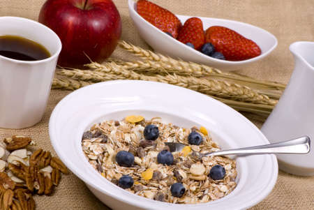 muslin: A bowl of muslin cereal with an assortment of fresh fruits and coffee