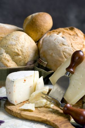 An assortment of fresh bread with cheese