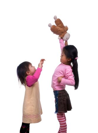 asian bunny: Big sister has taken the bunny from her little sister and wont give it back.