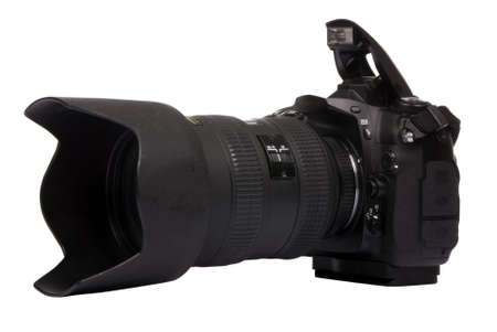 A professional DSLR camera ready for a picture. Stock Photo