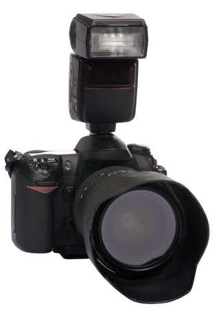 プロフェッショナル デジタル一眼レフのデジタル カメラ写真を撮って準備ができて