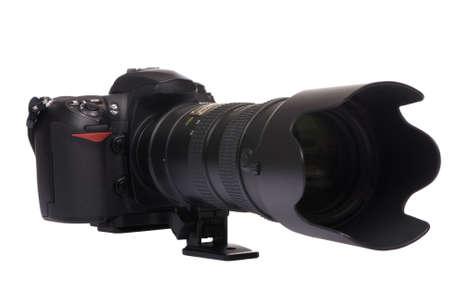接続されている大きなガラスでプロのデジタル カメラ. アクションの .ready