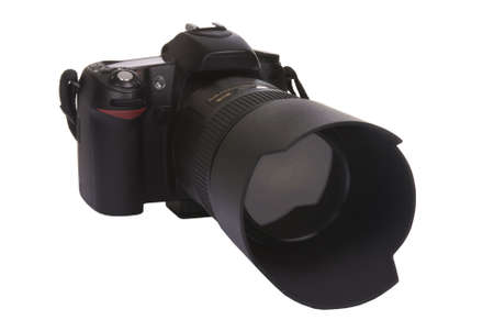 A professional digital camera DSLR ready to take pictures. isolated on white. clipping path Stock Photo