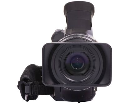 A front on shot of a HDV video camcorder isolated on a white background (clipping path) Stock Photo - 792537