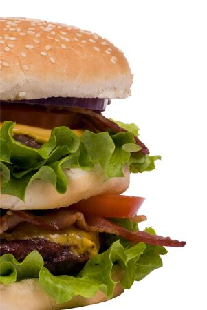 bollos: Ahora que  's una hamburguesa .... dos hamburguesas, tocino, queso y un mont�n de verdes. (recorte de ruta)