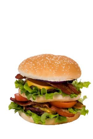 Now thats a hamburger.... two patties, bacon, cheese and lots of greens. (clipping path)