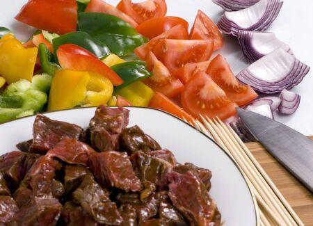 Preparing fresh beef steak shishkabobs with vegatables  Stock Photo - 792515
