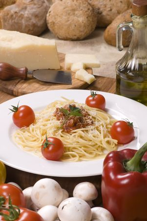 All the fixings for great Italian pasta. Lots of fresh vegetables and spices straight from the garden. Stock Photo - 796173