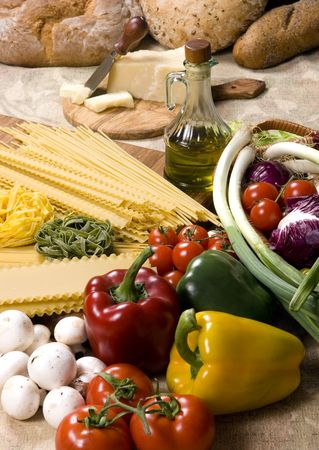 All the fixings for great Italian pasta. Lots of fresh vegetables and spices straight from the garden. photo