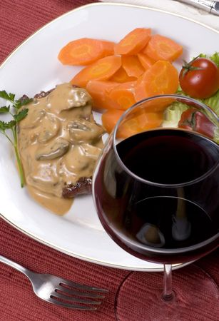 mouth watering: A mouth watering tenderloin steak with fresh vegetables and potatoes with mushroom sauce.