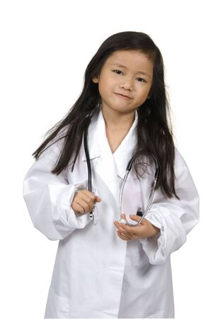 A young girl having fun playing dress up as a doctor....How are you feeling?..... Education, learning, medical, childhood
