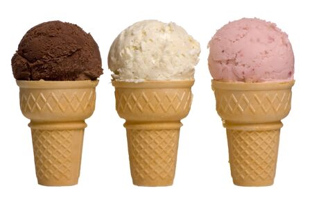 flavour: 3 different flavors of ice cream cones... chocolate, vanilla, and strawberry