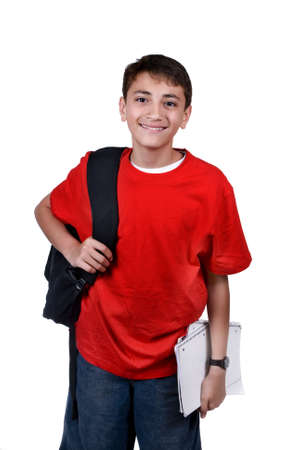 A young boy with a backpack ready for school. Isolated on white. Imagens - 926342