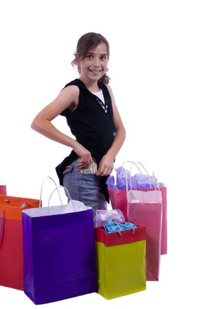 show off: Two young sisters show off the rewards of shopping