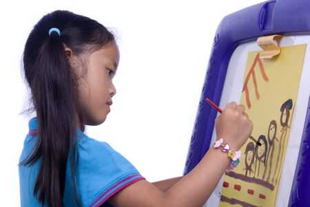 A young girl paints a picture. Family, love, bonding, education. Stock Photo - 960656
