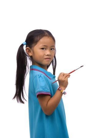 A young girl paints a picture. Family, love, bonding, education. Stock Photo - 960657