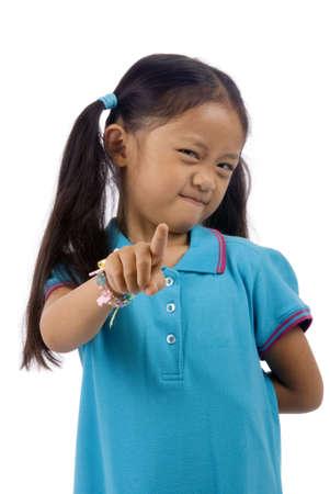 kindergartener: A young kindergartener points her finger...you better not