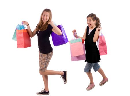 Two young sisters show off the rewards of shopping