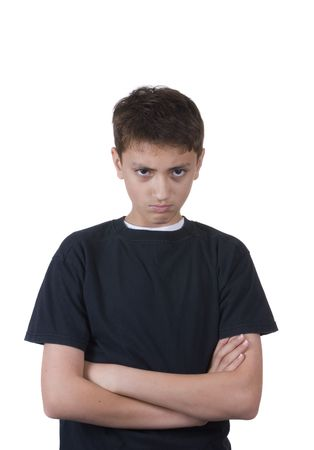 A young boy is upset about something. Isolated on white. Imagens