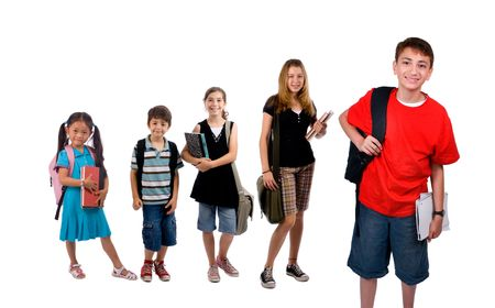 Young kids are ready for school. Education, family, learning photo