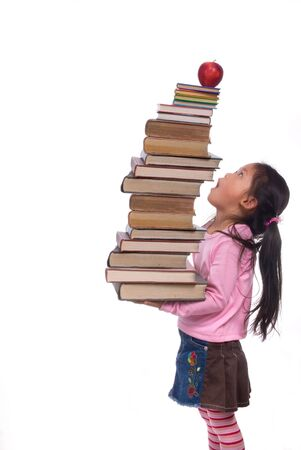 The power of the future is your education. A young girl hold a tall tower of books. The weight of education.