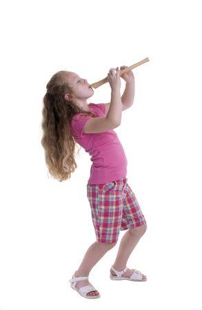 Ein junges Mädchen aufwachsen. Kindheit, Lernen, Exploration, Musik.