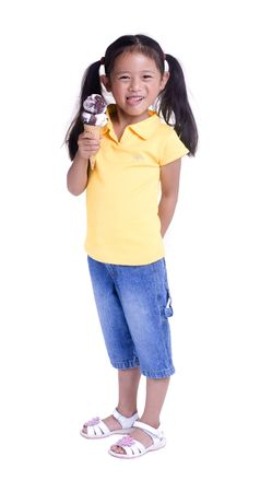 ice cream cone: A young girl with a summertime treat. Ice cream cone.