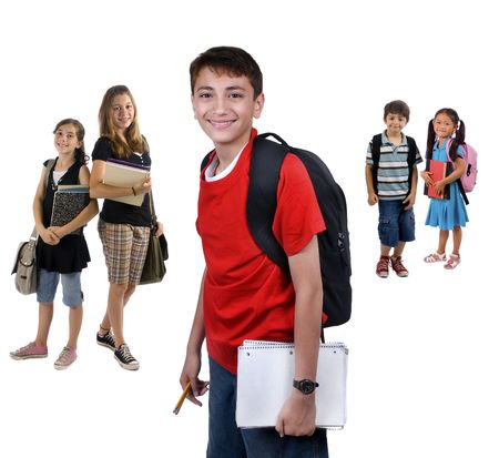 sibling: Young kids are ready for school. Education, , learning Stock Photo