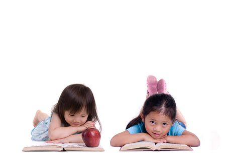 child reading book: Going to school is your future. Education, learning, teaching. A young girl thinks about her future.