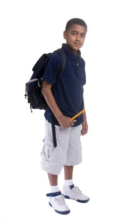 A young boy on a laptop. Education is your future. Stock Photo