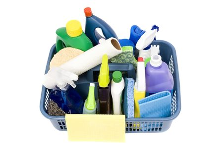cleaning supplies: A full bucket of cleaning supplies. The daily grind.