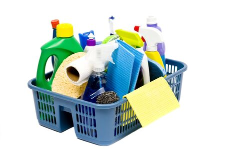 daily grind: A full bucket of cleaning supplies. The daily grind.
