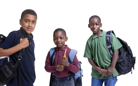 school backpack: A group of african american students ready for school. Education, learning Stock Photo
