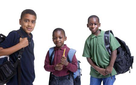 ni�os africanos: Un grupo de estudiantes African American listo para la escuela. La educaci�n, el aprendizaje  Foto de archivo