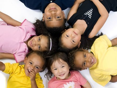 teens playing: A group of children of various ethnic backgrounds. Diversity
