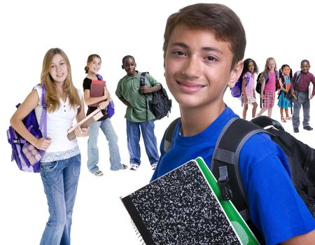 cute braces: Young kids are ready for school. Education, , learning Stock Photo
