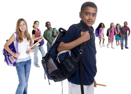Junge Kinder sind bereit für die Schule. Bildung, Familie, Lernen  Standard-Bild - 3475291