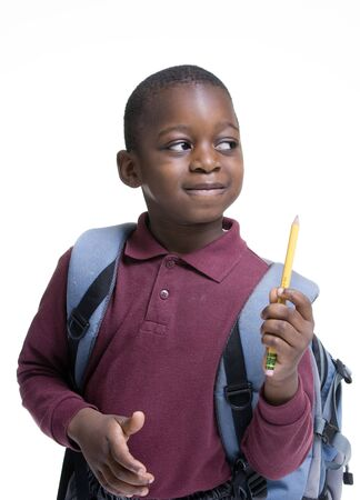 school friends: An african american student ready for school. Education, learning