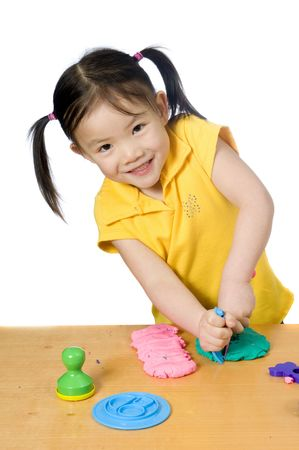 Education, learning, teaching. Playing with play doh. Stock Photo - 3495353