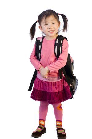 若い女の子は学校の準備です。未来教育